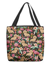 Cream Dachshund Floral All-over Tote back