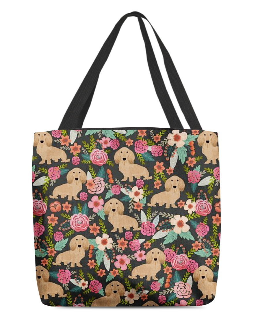 Cream Dachshund Floral All-over Tote