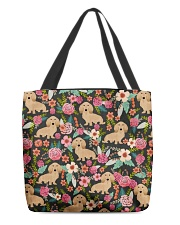 Cream Dachshund Floral All-over Tote front