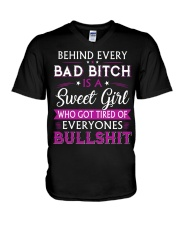 Behind every bad bitch is a sweet youth tee V-Neck T-Shirt thumbnail