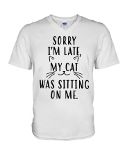 Sorry Im late my cat was sitting on me shirt V-Neck T-Shirt thumbnail