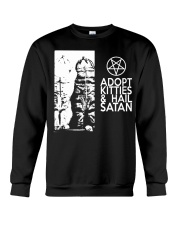 Adopt Kitties and Hail Satan shirt Crewneck Sweatshirt thumbnail