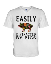 EASILY DISTRACTED BY PIGS V-Neck T-Shirt thumbnail