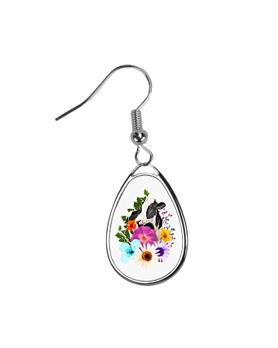 COW AND FLOWERS TEARDROP EARRINGS