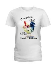 I'M JUST A GIRL WHO LOVES CHICKENS Ladies T-Shirt front
