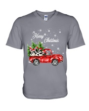 MERRY CHRISTMAS COW V-Neck T-Shirt thumbnail
