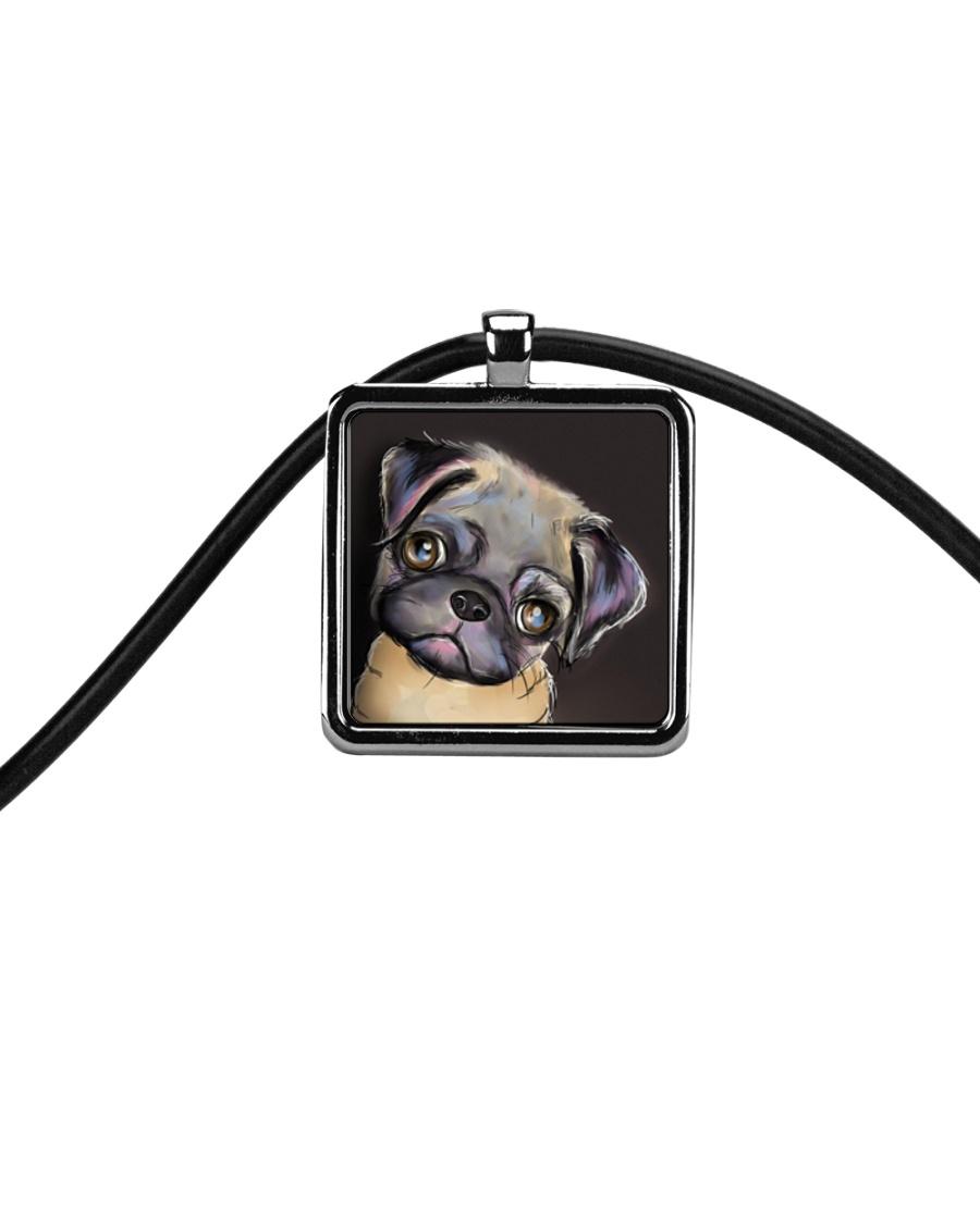 Pug Pug Pug Pug Pug Pug Cord Rectangle Necklace