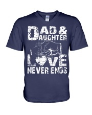 dad dad dad dad daughter daughter daughter V-Neck T-Shirt thumbnail