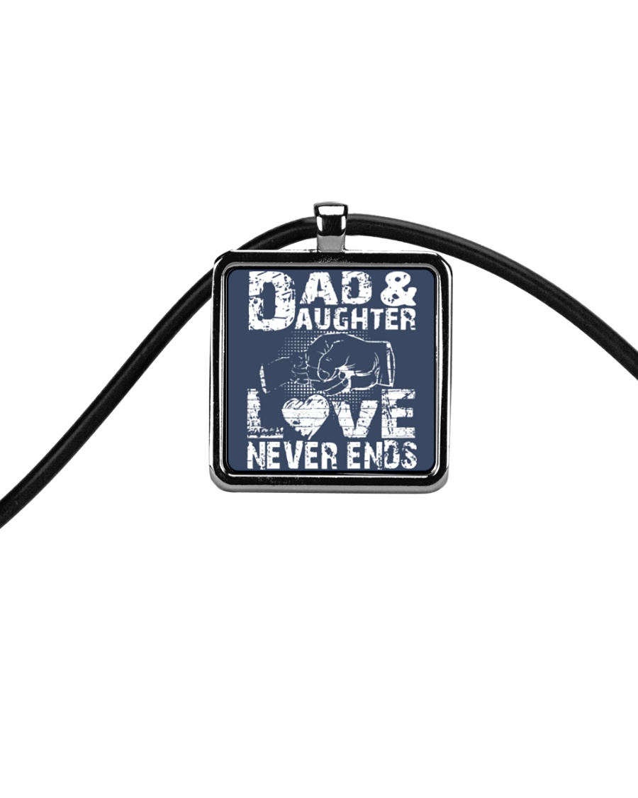 dad dad dad dad daughter daughter daughter Cord Rectangle Necklace