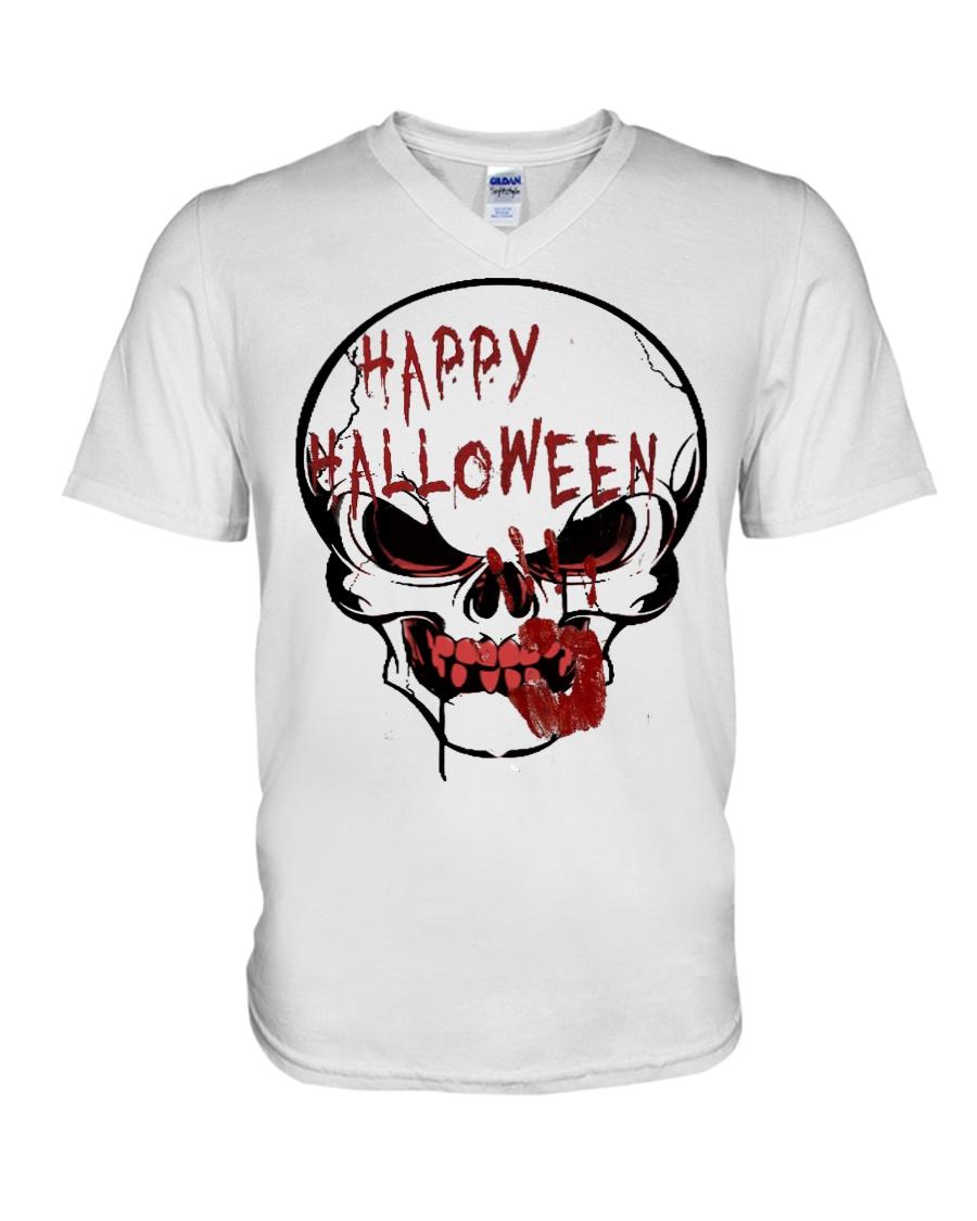 skill halloween V-Neck T-Shirt