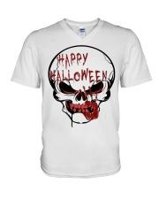 skill halloween V-Neck T-Shirt front