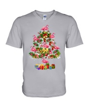 Flamingo Christmas Tree Merry Christmas V-Neck T-Shirt thumbnail