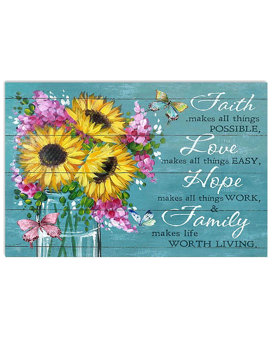 Faith - Love - Hope - Family 17x11 Poster