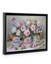 Be Happy Be Kind Be You 14x11 Black Floating Framed Canvas Prints thumbnail