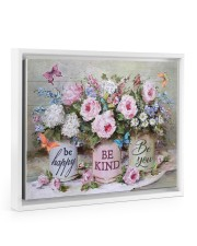 Be Happy Be Kind Be You 14x11 White Floating Framed Canvas Prints thumbnail
