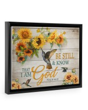 Be still and know that I am God Floating Framed Canvas Prints Black tile