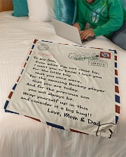 "Hockey Mom and Dad Letter Blanket Small Fleece Blanket - 30"" x 40"" aos-coral-fleece-blanket-30x40-lifestyle-front-07"