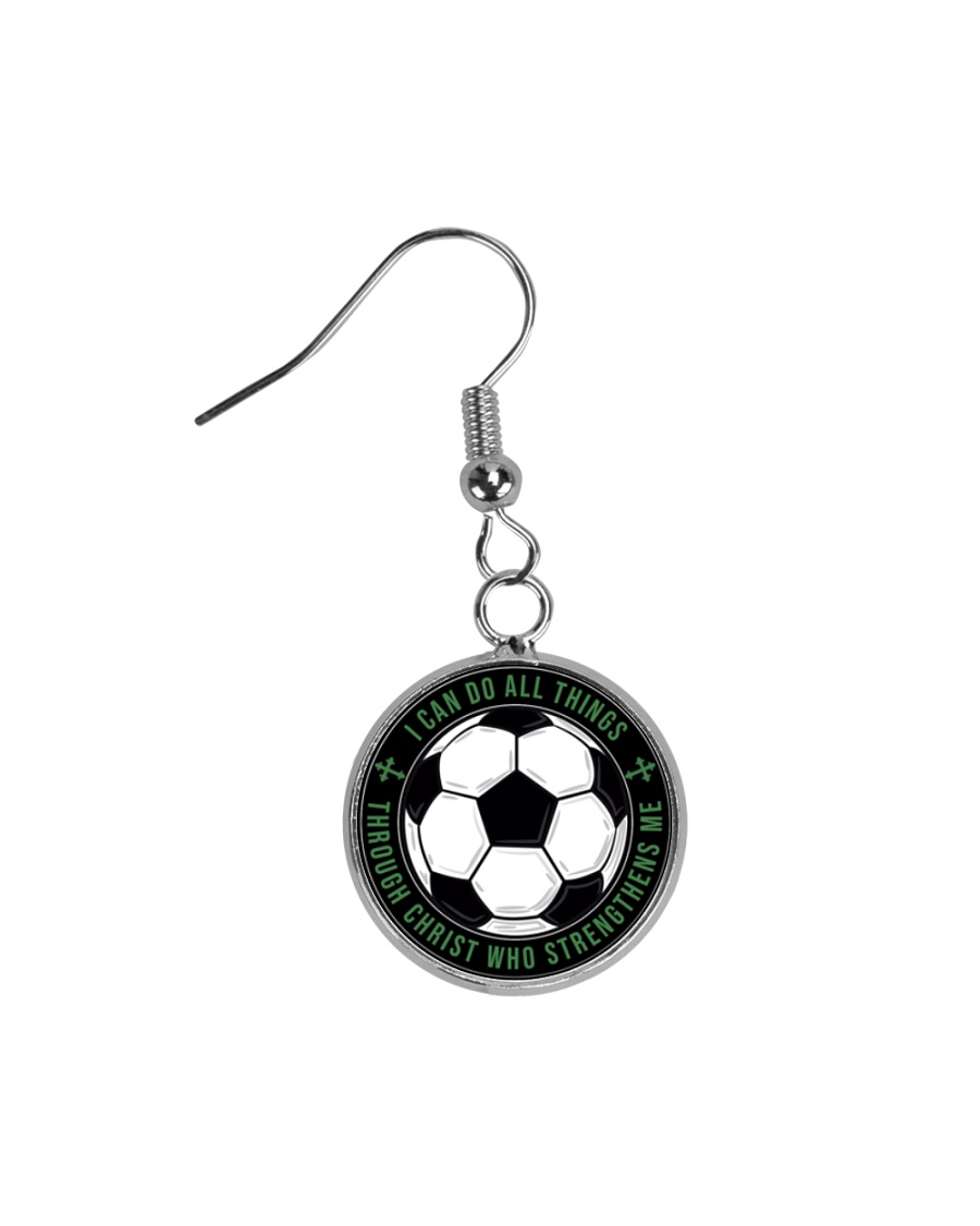 I Can Do All Things Soccer Nhg07 Circle Earrings