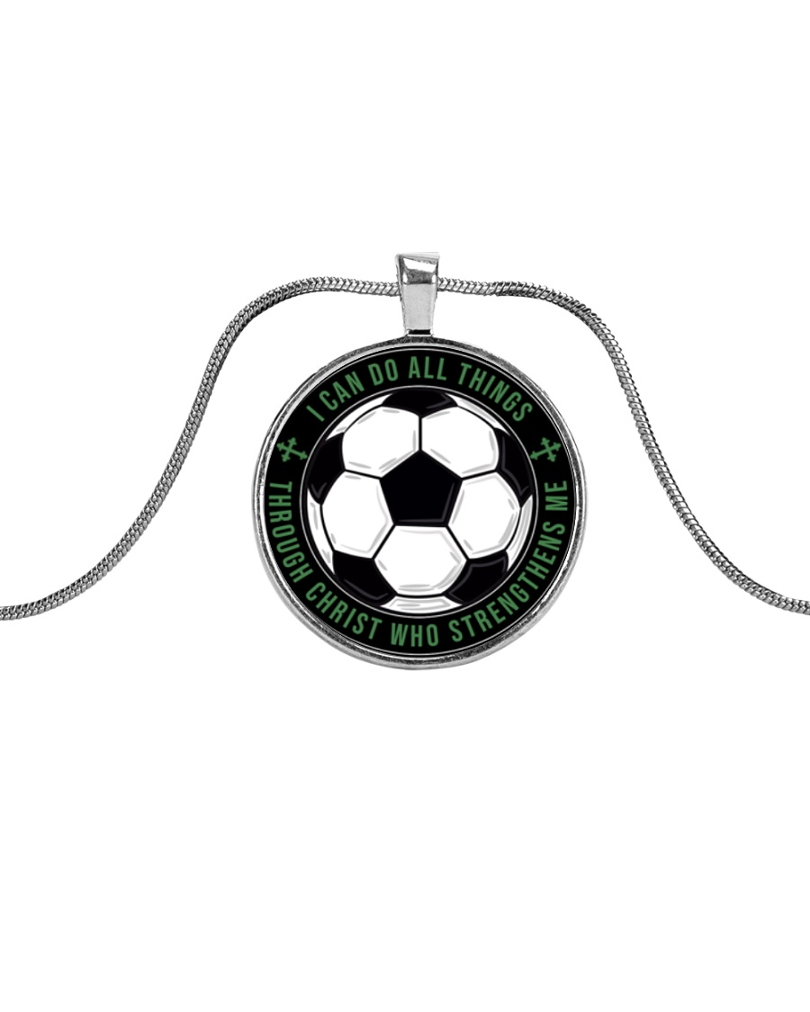 I Can Do All Things Soccer Nhg07 Metallic Circle Necklace