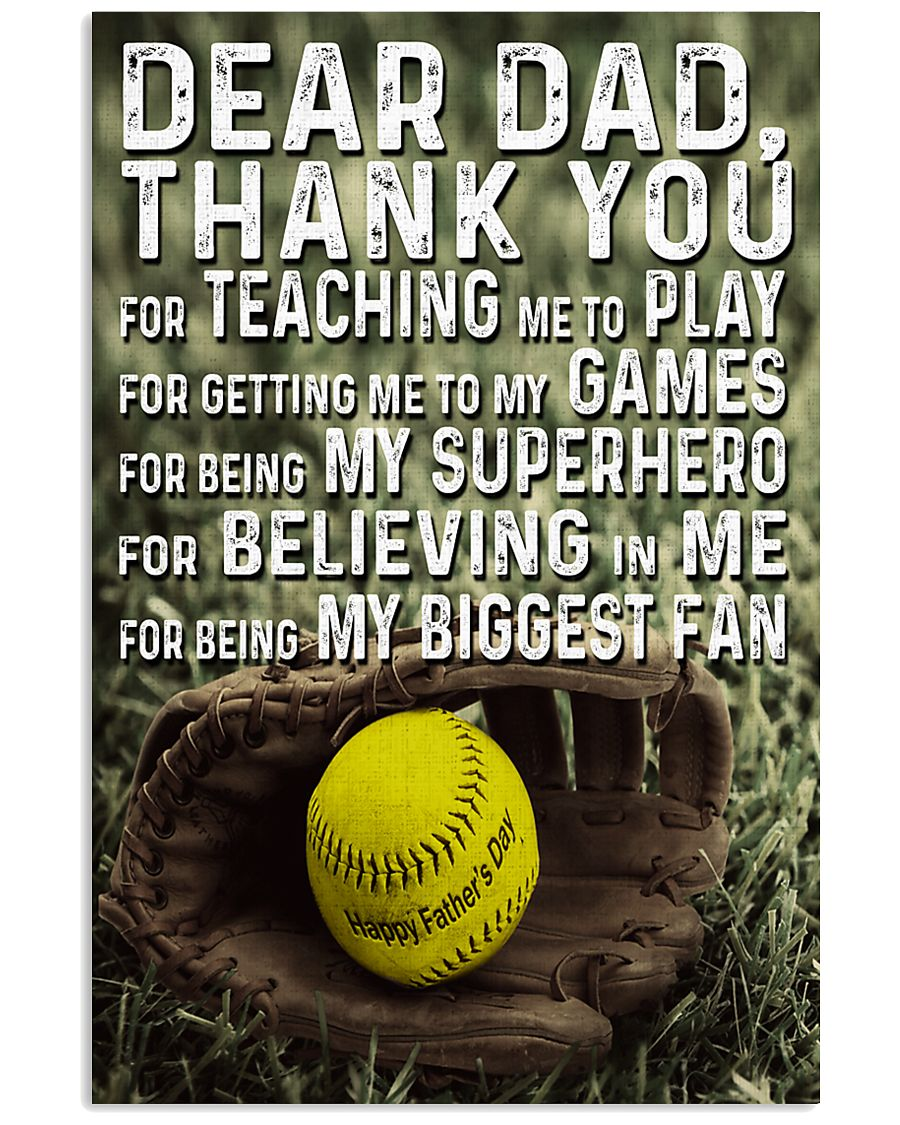Thank you Dad Softball ver Nhg07 11x17 Poster