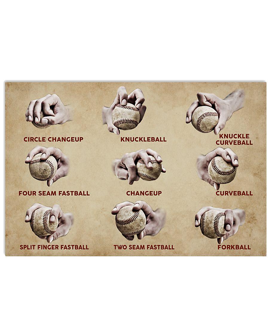 Baseball Pitching Grips 17x11 Poster