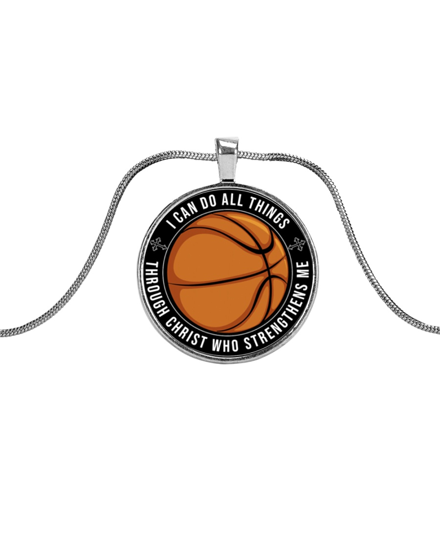 I Can Do All Things Basketball Nhg07 Metallic Circle Necklace