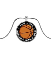 I Can Do All Things Basketball Nhg07 Metallic Circle Necklace front