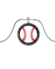 Never Forget That I Love You Baseball Metallic Circle Necklace front