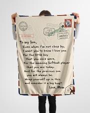 "Softball Letter Blanket Small Fleece Blanket - 30"" x 40"" aos-coral-fleece-blanket-30x40-lifestyle-front-14"