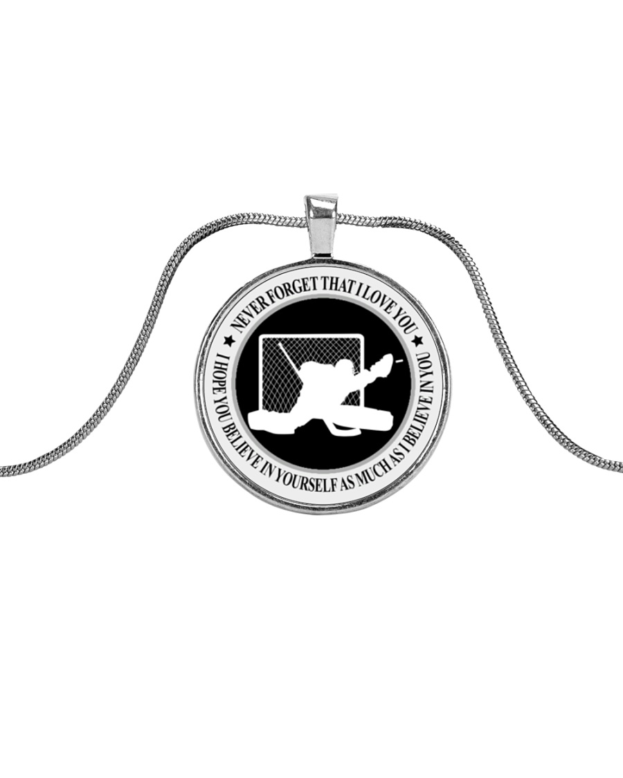 Never Forget That I Love You Hockey Nhg07 Metallic Circle Necklace
