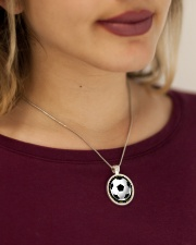 Never Forget That I Love You Soccer Version Metallic Circle Necklace aos-necklace-circle-metallic-lifestyle-1
