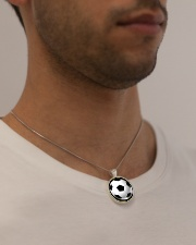 Never Forget That I Love You Soccer Version Metallic Circle Necklace aos-necklace-circle-metallic-lifestyle-2