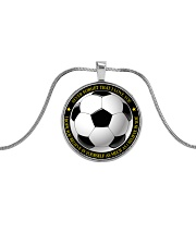 Never Forget That I Love You Soccer Version Metallic Circle Necklace front