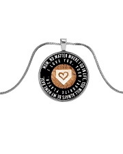 My Mom Will Always Be My Home Base Softball ver Metallic Circle Necklace front