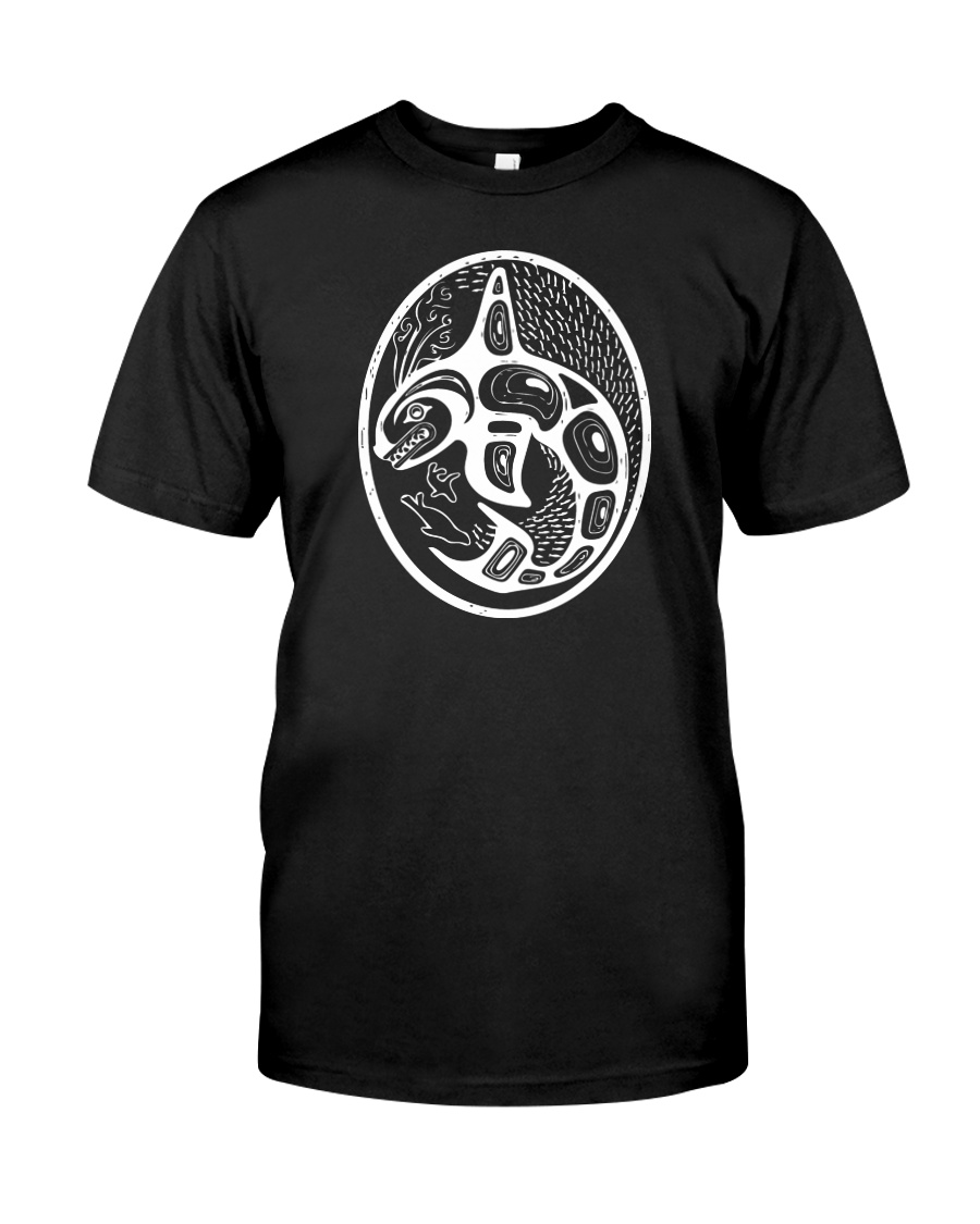 Orca Tribal Front White Premium Fit Mens Tee