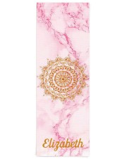 Custom elegant soft pink marble stone gold Yoga Mat 24x70 (vertical) front
