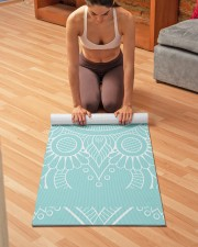 Beautiful Light Blue Mandala Yoga Mat Yoga Mat 24x70 (vertical) aos-yoga-mat-lifestyle-21
