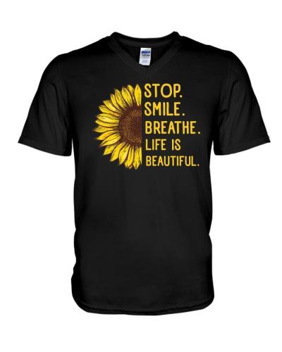Stop Smile Breathe Life Is Beautiful Shirt Hippi
