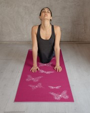 Fluttering Butterflies Bright Pink Yoga Mat 24x70 (vertical) aos-yoga-mat-lifestyle-17