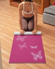 Fluttering Butterflies Bright Pink Yoga Mat 24x70 (vertical) aos-yoga-mat-lifestyle-21