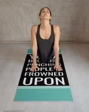 Funny Quote Aqua Blue and Black Yoga Mat Yoga Mat 24x70 (vertical) aos-yoga-mat-lifestyle-17