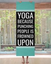 Funny Quote Aqua Blue and Black Yoga Mat Yoga Mat 24x70 (vertical) aos-yoga-mat-lifestyle-27