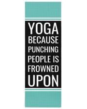 Funny Quote Aqua Blue and Black Yoga Mat Yoga Mat 24x70 (vertical) front