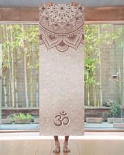 Chic Rose Gold Mandala Om Personal Yoga Mat Yoga Mat 24x70 (vertical) aos-yoga-mat-lifestyle-27