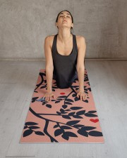 Simulated Papercut Bird amp Branches Peach Navy Yoga Mat 24x70 (vertical) aos-yoga-mat-lifestyle-17
