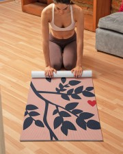 Simulated Papercut Bird amp Branches Peach Navy Yoga Mat 24x70 (vertical) aos-yoga-mat-lifestyle-21