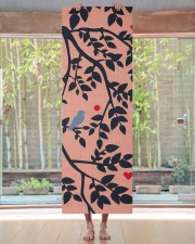 Simulated Papercut Bird amp Branches Peach Navy Yoga Mat 24x70 (vertical) aos-yoga-mat-lifestyle-27