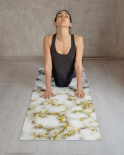 Black and white marble gold sparkle flake Yoga Mat 24x70 (vertical) aos-yoga-mat-lifestyle-17