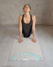 Beautiful Turquoise Blue Lotus Mandala Yoga Mat Yoga Mat 24x70 (vertical) aos-yoga-mat-lifestyle-17