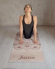 Custom Name Mandala Om Rose Gold Glitter Exercise Yoga Mat 24x70 (vertical) aos-yoga-mat-lifestyle-17
